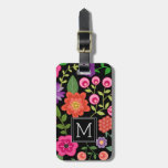 Trendy Black Floral Pattern With Custom Monogram Luggage Tag at Zazzle