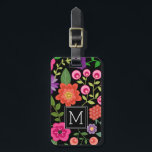 """Trendy Black Floral Pattern with Custom Monogram Luggage Tag<br><div class=""""desc"""">A cute design with trendy Spring flowers and a bold way to display your monograms.</div>"""