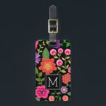 "Trendy Black Floral Pattern with Custom Monogram Luggage Tag<br><div class=""desc"">A cute design with trendy Spring flowers and a bold way to display your monograms.</div>"