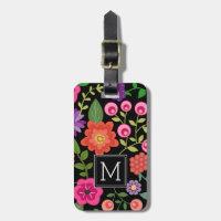 Trendy Black Floral Pattern with Custom Monogram Luggage Tag