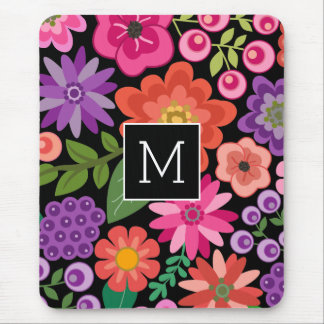Trendy Black Floral Pattern with Custom Monogram Mouse Pad