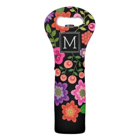 Trendy Black Floral Pattern with Custom Monogram Wine Bag