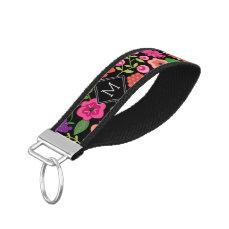 Trendy Black Floral Pattern with Custom Monogram Wrist Keychain