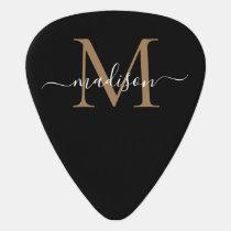 Trendy Black Gold Monogram Girly Feminine Script Guitar Pick