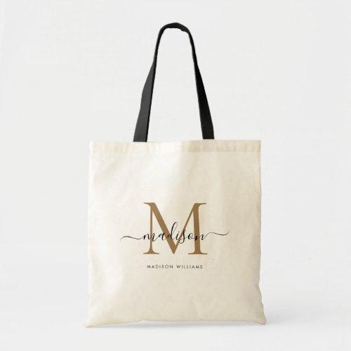 Trendy Black Gold Monogram Initial Script Name Tote Bag