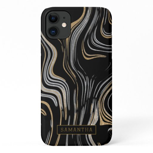 Trendy Black Gold Silver Foil Marble Monogram iPhone 11 Case