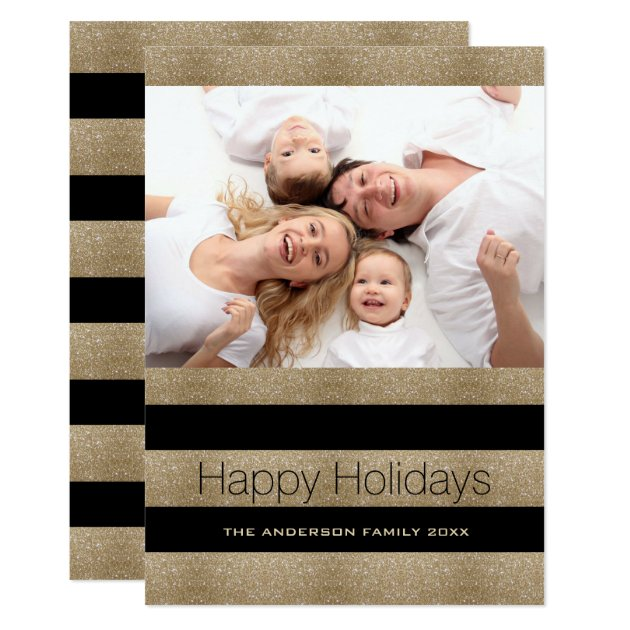 Trendy Black Gold Stripes Happy Holidays Photo Card