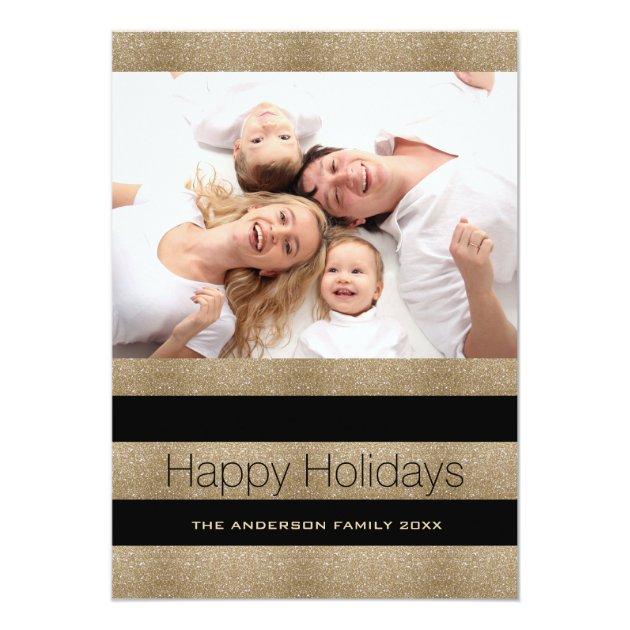 Trendy Black Gold Stripes Happy Holidays Photo Card (back side)