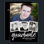 "Trendy Black Graduation Announcement Party 4 Photo<br><div class=""desc"">Add 2019,  2018 or any year to personalize this elegant and trendy design. This can be used for any graduate - high school,  college,  grad school,  med school or even trade school.</div>"