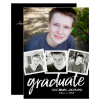Trendy Black Graduation Announcement Party 4 Photo