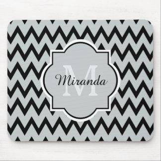 Trendy Black Gray Chevron Zigzag Name and Monogram Mouse Pad