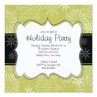 Trendy Black & Green Snowflakes Holiday Party 5.25x5.25 Square Paper Invitation Card