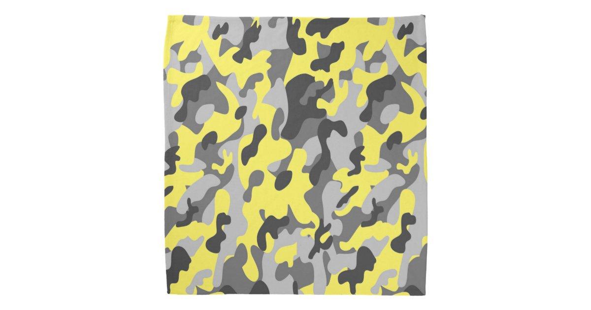Trendy Black, Grey & Yellow Camo Print Sports Bandana   Zazzle.com