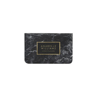 Trendy Black Marble and Printed Gold Texture Business Card Holder