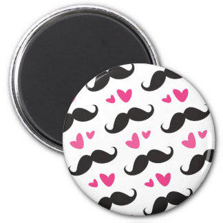Trendy black mustache pattern with pink hearts 2 inch round magnet