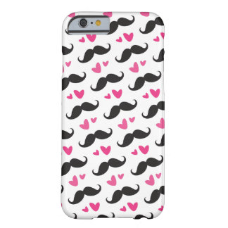Trendy black mustache pattern with pink hearts barely there iPhone 6 case