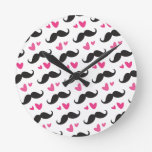 Trendy black mustache pattern with pink hearts wallclocks