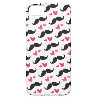Trendy black mustache pattern with pink hearts iPhone SE/5/5s case