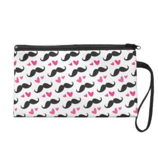 Trendy black mustache pattern with pink hearts wristlet