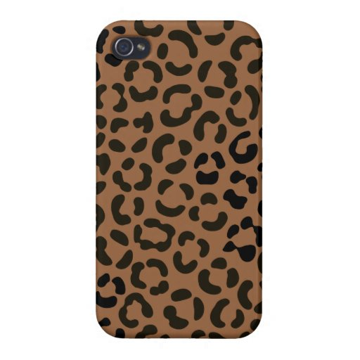 Trendy Black on Tan Leopard Print Pattern Case For iPhone 4