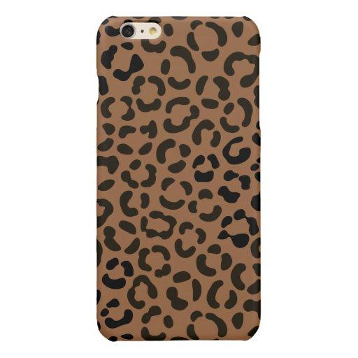 Trendy Black on Tan Leopard Print Pattern Glossy iPhone 6 Plus Case