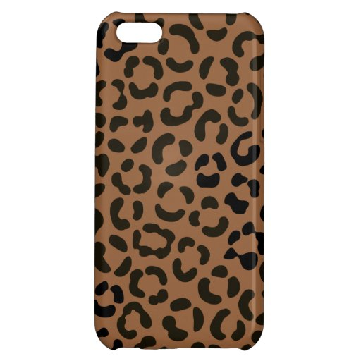 Trendy Black on Tan Leopard Print Pattern Case For iPhone 5C
