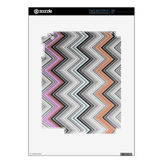 Trendy Black Pink Chevron Zigzag Stripes Pattern Decals For iPad 2