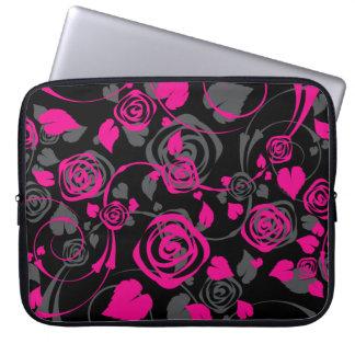 Trendy Black & Pink Floral Rose Laptop Sleeve