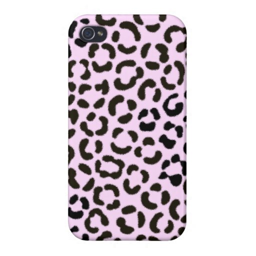 Trendy Black & Pink Leopard Fur Effect Pattern Case For iPhone 4