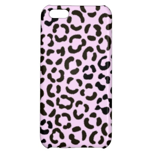 Trendy Black & Pink Leopard Fur Effect Pattern Case For iPhone 5C