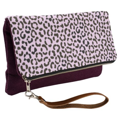 Trendy Black & Pink Leopard Fur Effect Rpt Pattern Clutch