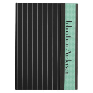 Trendy Black Pinstripe Teal Argyle Cover For iPad Air