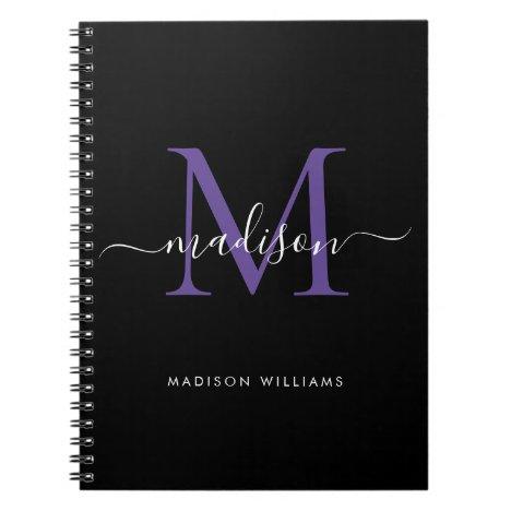 Trendy Black Purple Violet Monogram Script Name Notebook