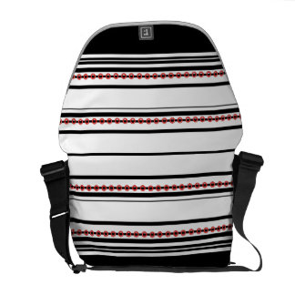 "Trendy black red pattern ""racing stripe"" messenger bag"