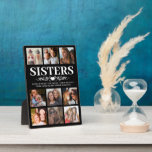 """Trendy Black Sister Photo Collage Plaque<br><div class=""""desc"""">Unique sister photo plaque featuring a stylish black background that can be changed to any color,  9 square pictures,  and a sweet sister quote.</div>"""