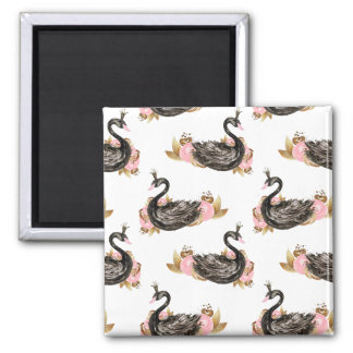 Trendy Black Swan with pink Flowers Pattern Magnet