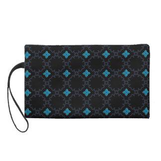 Trendy Black Turquoise Bagettes Wristlet Bag