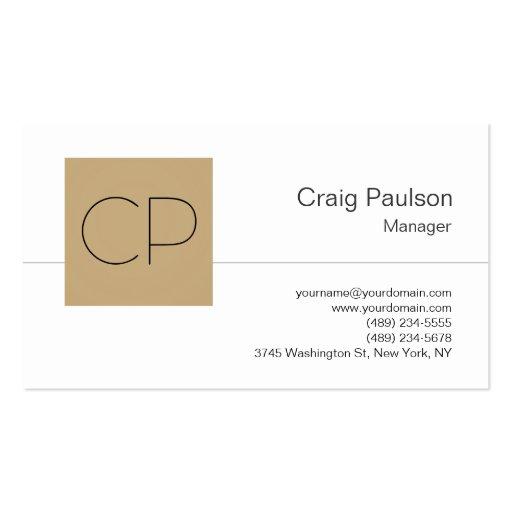 Trendy Black White Beige Monogram Business Card