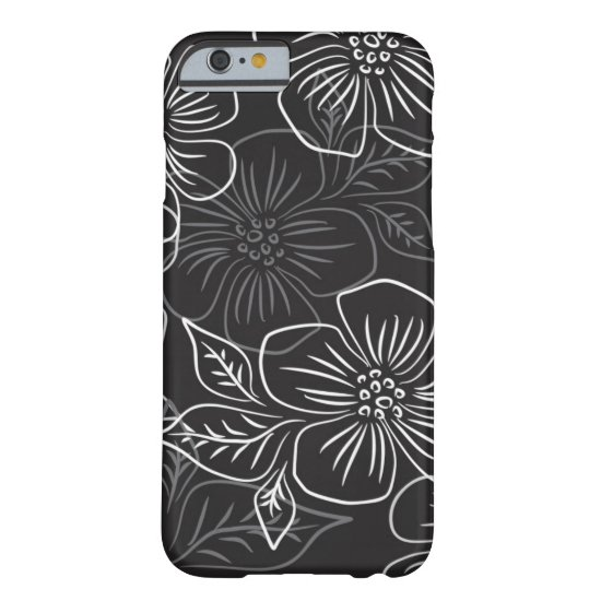 Trendy Black White Big Bold Floral Pattern Barely There iPhone 6 Case