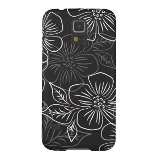 Trendy Black White Big Bold Floral Pattern Galaxy S5 Cover