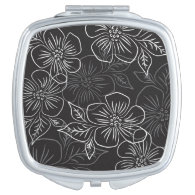 Trendy Black White Big Bold Floral Pattern Makeup Mirror