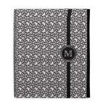 Trendy black white damask monogram iPad case
