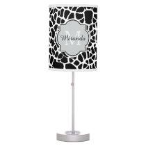 Trendy Black White Giraffe Print Monogrammed Name Table Lamp