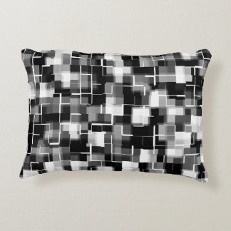 Trendy Black White Grey Abstract Plaid Accent Pillow