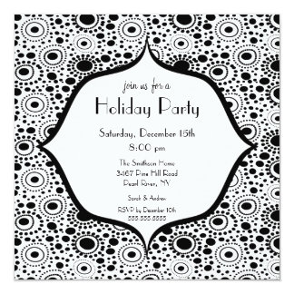 Trendy Black Amp White Holiday Party Invitation