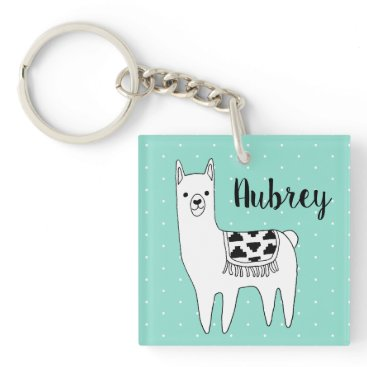 Aztec Themed Trendy Black & White Llama & Swiss Dots in Mint Keychain