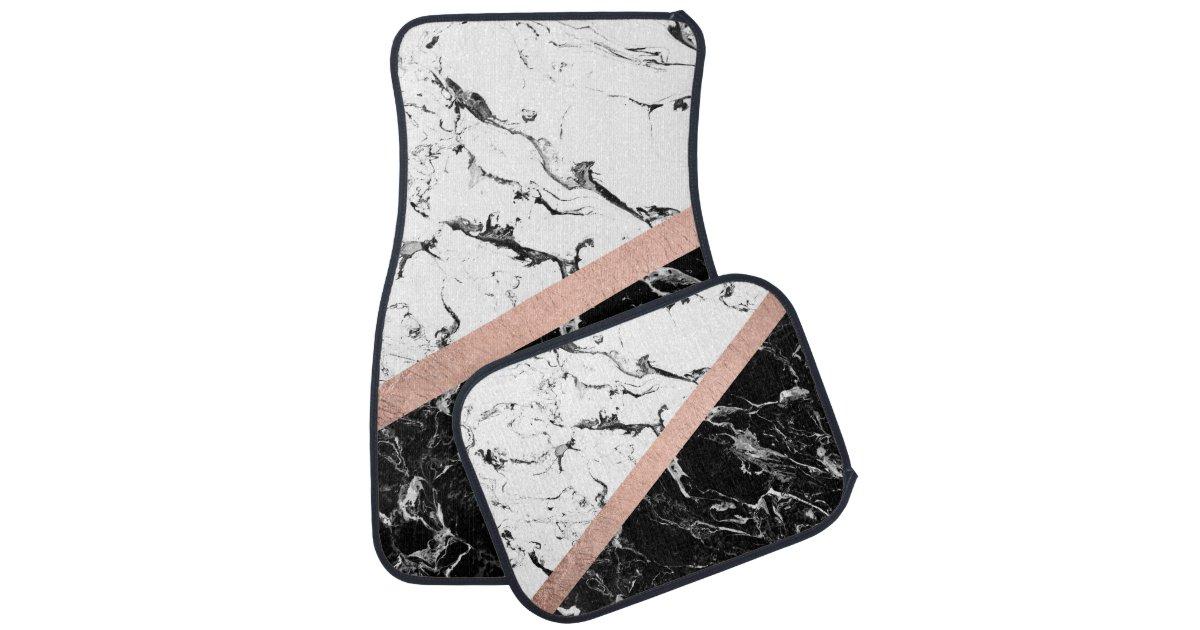 Black Gold Marble Blocks : Trendy black white marble color block rose gold car floor