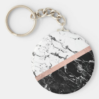 Trendy black white marble color block rose gold keychain