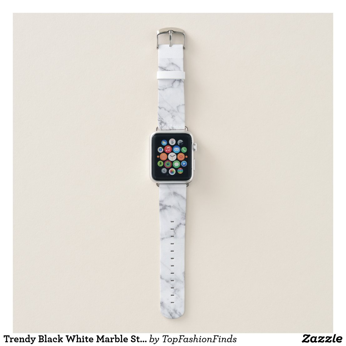 Trendy Black White Marble Stone Apple Watch Band