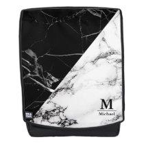 Trendy Black White Marble Texture Monogram Name Backpack